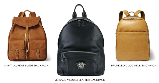 Leather back packs from Mr Porter and Farfetch