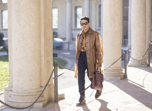 Menswear blogger Ronan Summers after Pal Zileri presentation, wearing Marni broken promise shirt from AW16, Club Monaco navy trousers, and Burberry PVC coat, spotted in Milano during MFW day 3 by Natasa