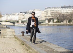 Leather pants and Daks outfit shot in Paris by the river Seinne