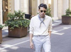 Ronan summers wearing white scotch and soda