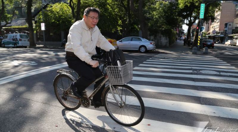 Taipei Mayor Ko Wen-je rides a bike