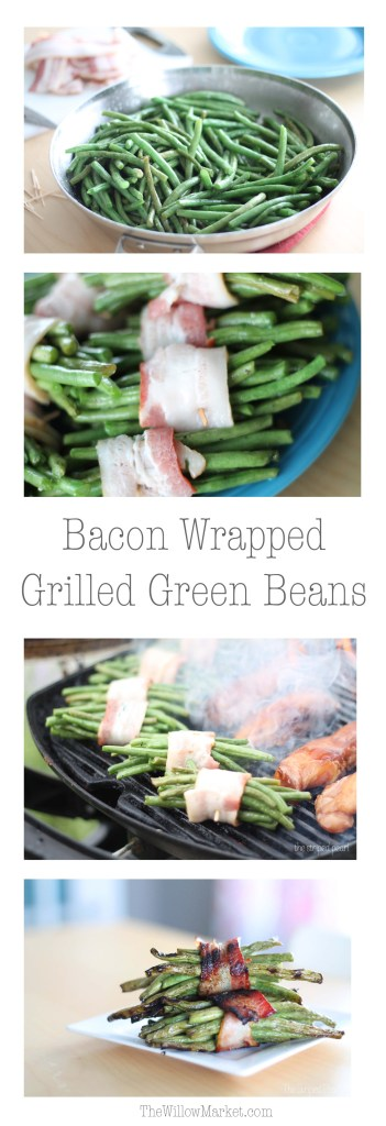 Recipe for fresh green beans. Bacon wrapped green beans cooked on the grill..