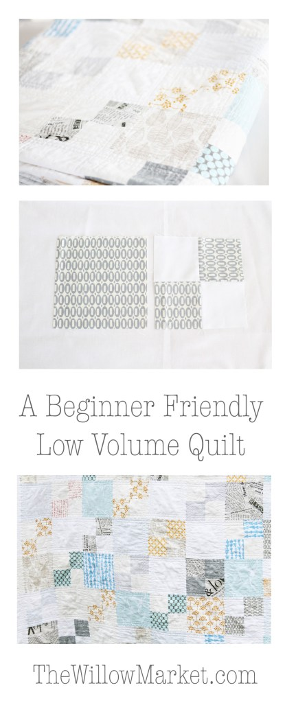 how to make a low volume quilt. beginner friendly. pez fabric. lotta jansdotter triange fabric.