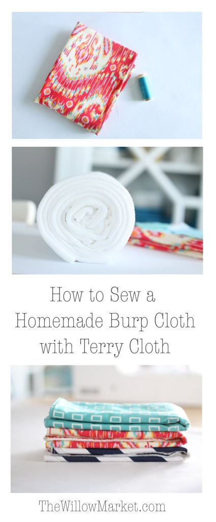 How to sew homemade burp cloths with terry cloth. Absorbent burp cloths. Microfiber terry cloth.