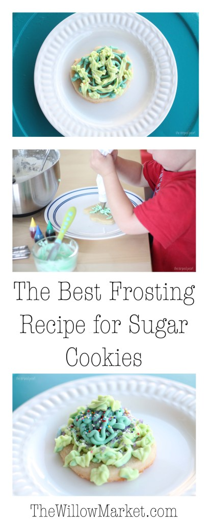 the best frosting recipe for sugar cookies. Frosting good for freezing.