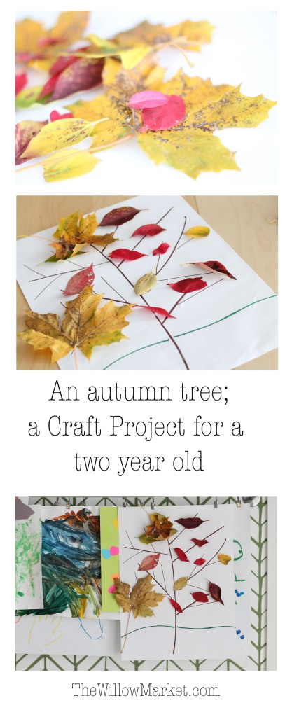 A fall craft project for a two year old. Toddler art ideas. Autumn craft project.
