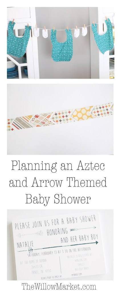 Aztec or arrow themed baby shower. Baby shower decorations.