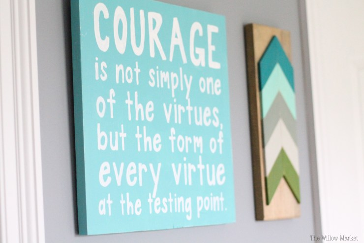 Courage is not simply one of the virtues, but the form of every virtue at the testing point. CS Lewis. A sign for a little boy's room.