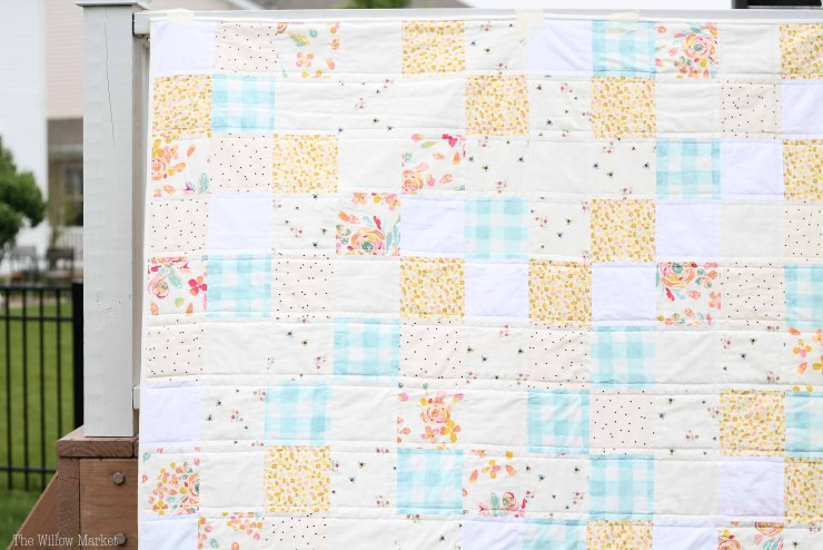 A throw sized quilt with five inch blocks. Simple patchwork quilting!