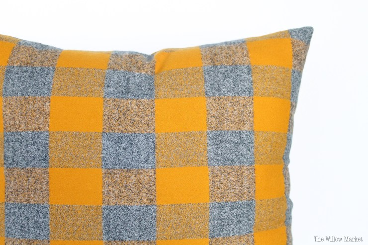 Mustard Yellow and Gray Flannel Pillow Cover