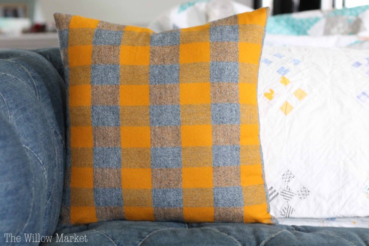 Mustard Yellow and Gray Plaid Pillow - Perfect for Autumn Home Decor
