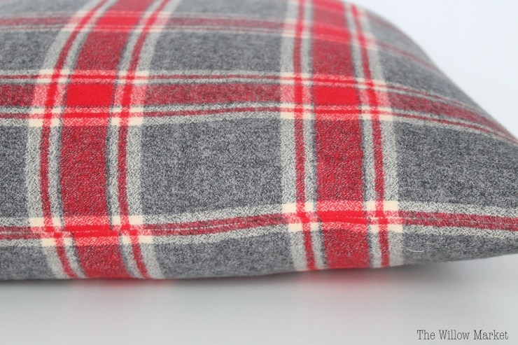 Red Plaid Flannel Pillow Cover.