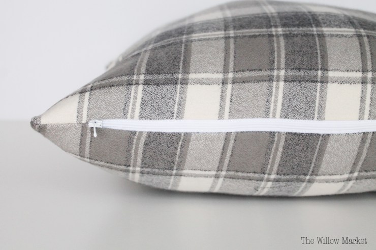 Gray & White Plaid Pillow Cover, Flannel Pillow Cover.