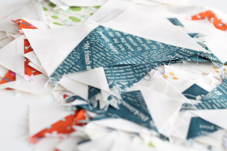 Navy Newsprint Fabric by Carrie Bloomston