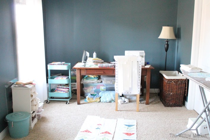 A craft room before and after. Using Ikea's Hemnes book cases.