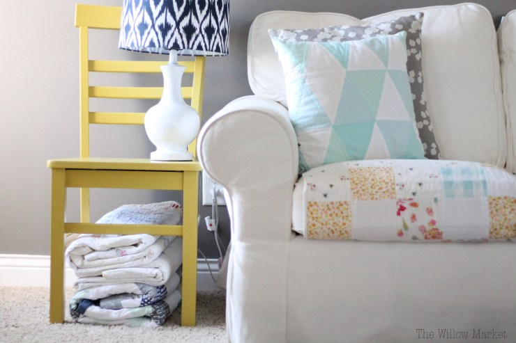 A bright and cheery mustard yellow chair.