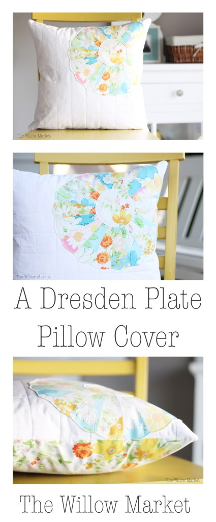 Dresden Plate Quilted Pillow Cover