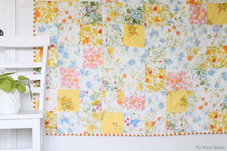 Vintage Sheet Patchwork Quilt. Yellow, pink, blue, and green.