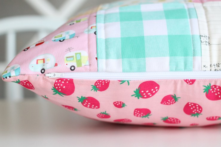 Pink Patchwork Pillow, Strawberry Fabric