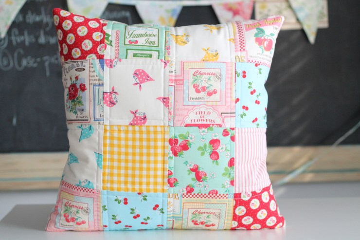 Fruit label fabric, kerchief girls fabric, gingham, cherry fabric - quilted pillow cover.