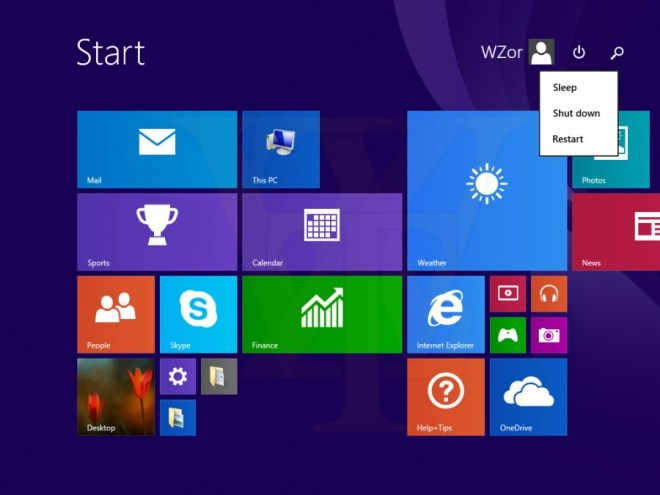 Windows 8.1 update leak: power button