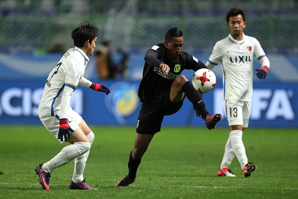 SUITA, JAPAN - DECEMBER 14:  John Edison Mosquera of Atletico Nacional in action during the FIFA Club World Cup Semi Final match between Atletico Nacional and Kashima Antlers at Suita City Football Stadium on December 14, 2016 in Suita, Japan.  (Photo by Matthew Ashton - AMA/Getty Images)