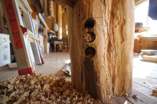Spiral Staircase: Drilling Mortises