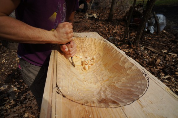 Carving wooden bowl