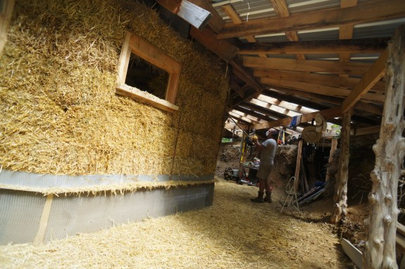Plaster Stop at Bottom of Straw Bale Wall