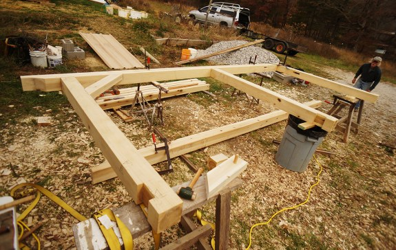 Timber frame wood shed assembly
