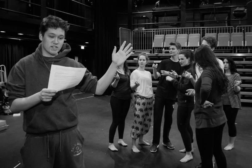 Students in rehearsals for their stage adaptation of Dostoyevsky's novel Demons