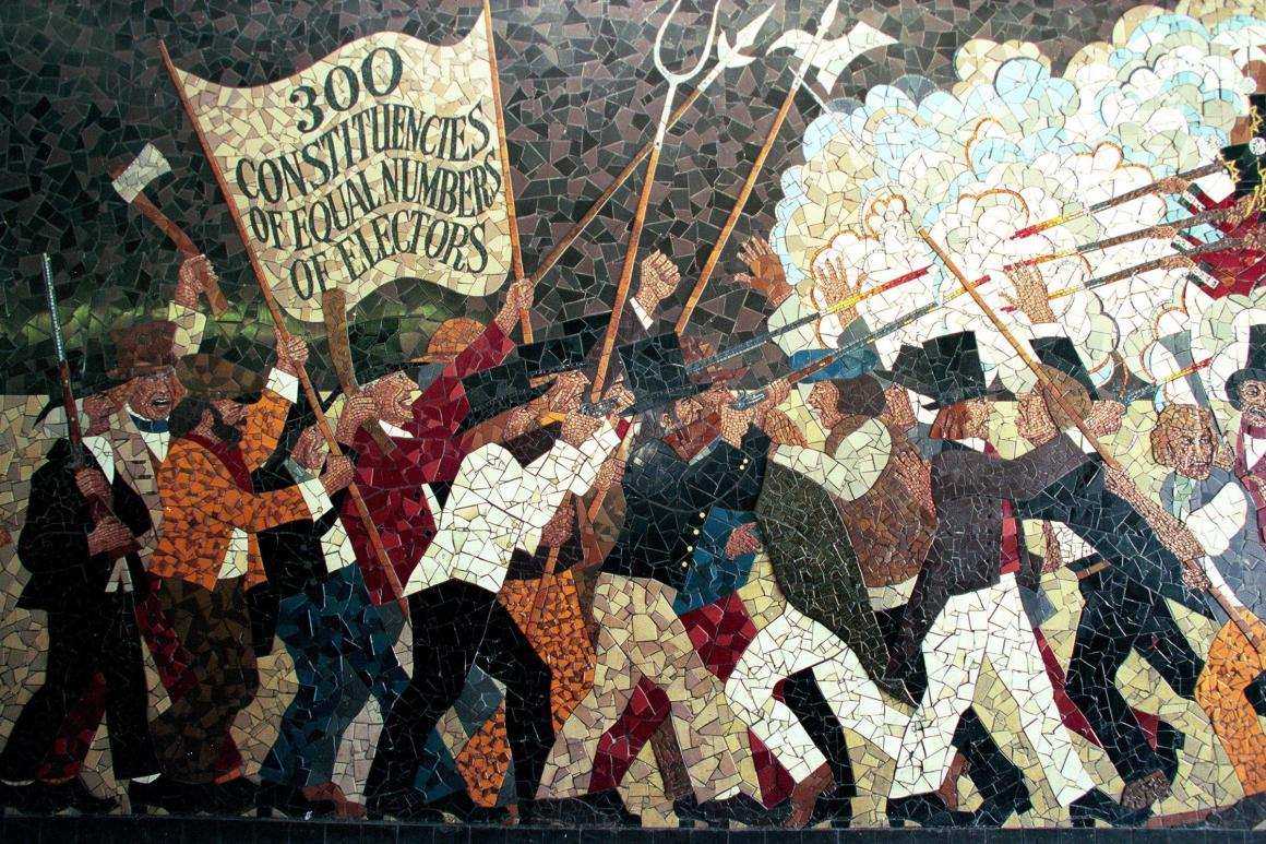 A mural depicting a Chartist demonstration. Image credit: the South Wales Argus
