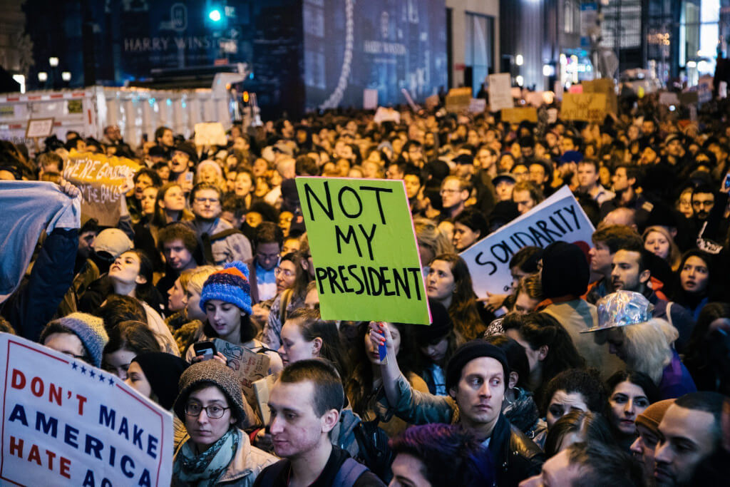 Anti-Trump Protest in New York. Source: Los Angeles Times