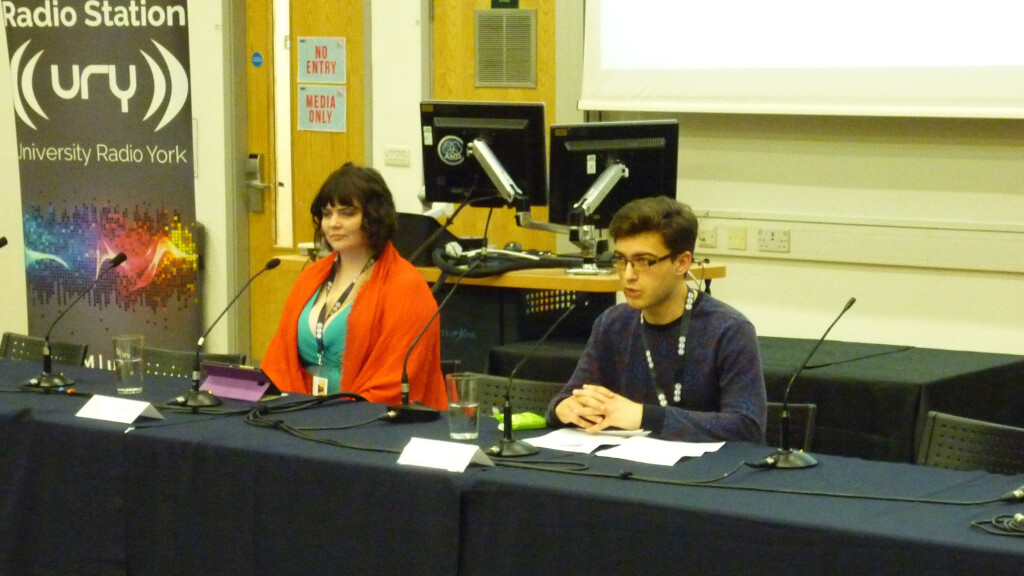 Julian Porch (right), who would go on to be elected the next Academic Officer of YUSU, speaking at the Full-Time Officer Debate Night. Image: The Yorker