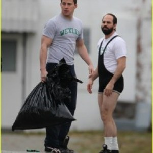 Channing Tatum and an almost unrecognizable, Steve Carell filming Foxcatcher