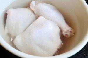 Chicken soaked in brine overnight