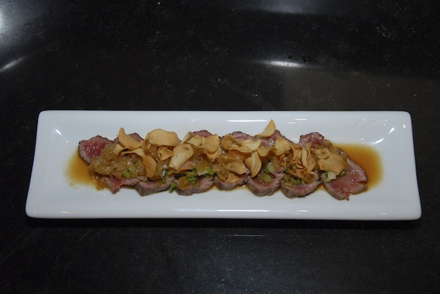 Closer look: Beef Fillet Tatki with Onion Ponzu & Garlic Crisps