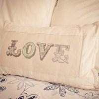 "Loving...cross stitch ""LOVE"" cushion"