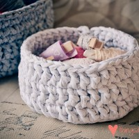 Loving...crocheted T-shirt yarn baskets