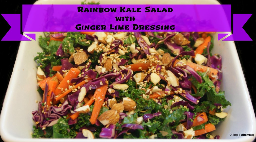 Rainbow Kale Salad with Ginger Lime Dressing | Things To Do In New Jersey | #kale #salad #cabbage #carrots #fall #recipes #slaw