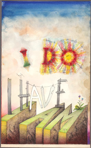 """I Do, I Have, I Am, 1971. Ink, marker pens, ballpoint pen, crayon, gouache, watercolor, and collage on paper, 22 3/4 x 14"""". Cover drawing for The New Yorker, July 31, 1971. The Saul Steinberg Foundation."""