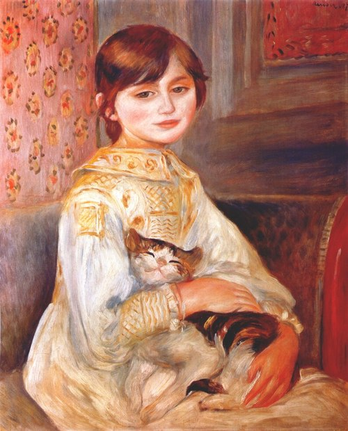 "Pierre Auguste Renoir. ""Julie Manet"" also known as ""Child with cat,"" 1887 Oil on canvas.  Image via Mata Mua."