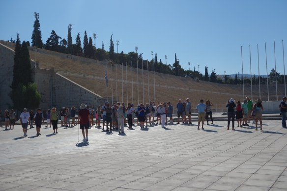 Modern Olympic Stadium in Athens. Games were banned along with pagan beliefs by Justinian I in 6th century. Olympic games restarted in this stadium in 1896 AD.