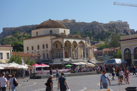 Ancient Athens market square with Acropolis in the background