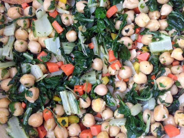 chickpea and greens saute
