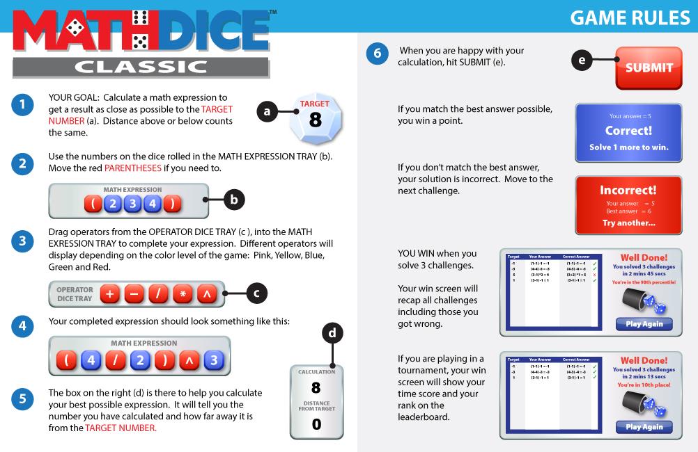 Math Dice Classic Instructions