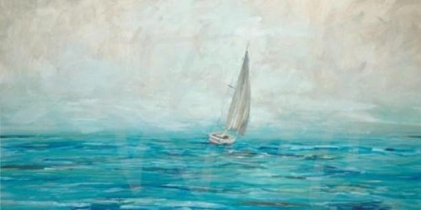 coastal sailing sailboat nautical blue seattle art