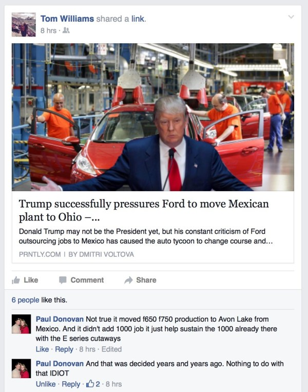 Trump cultist falsely writes that Ford move from Mexico to Ohio was because of Trump