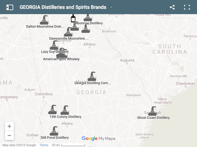 Georgia Distilleries Map
