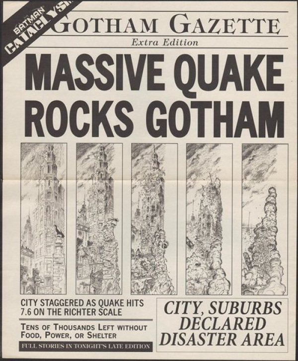 This Gotham Gazette title would fit well for The Batman Cataclysm of 2014-2015